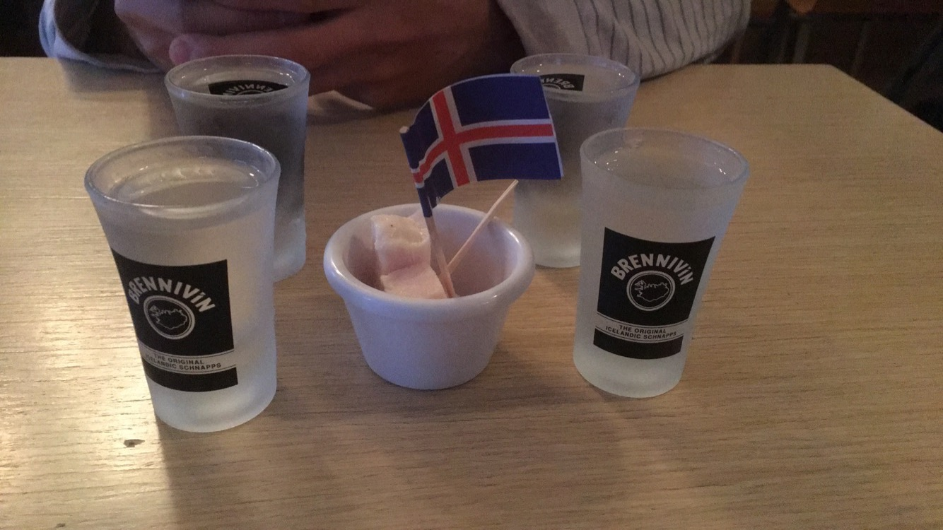 Fermented shark and shots of Black Death at Café Loki.