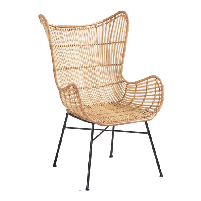 Natural Rattan Willis Wingback Chair / World Market
