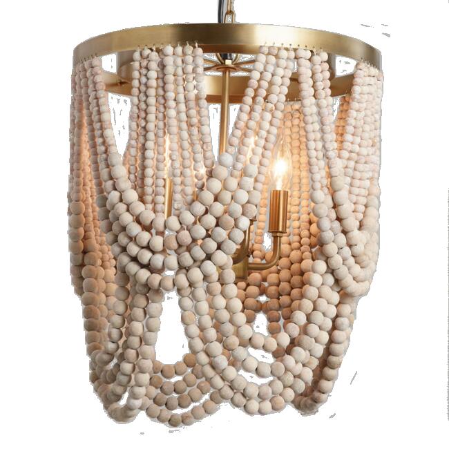 Whitewash Wood Draped Bead 4 Light Chandelier / World Market