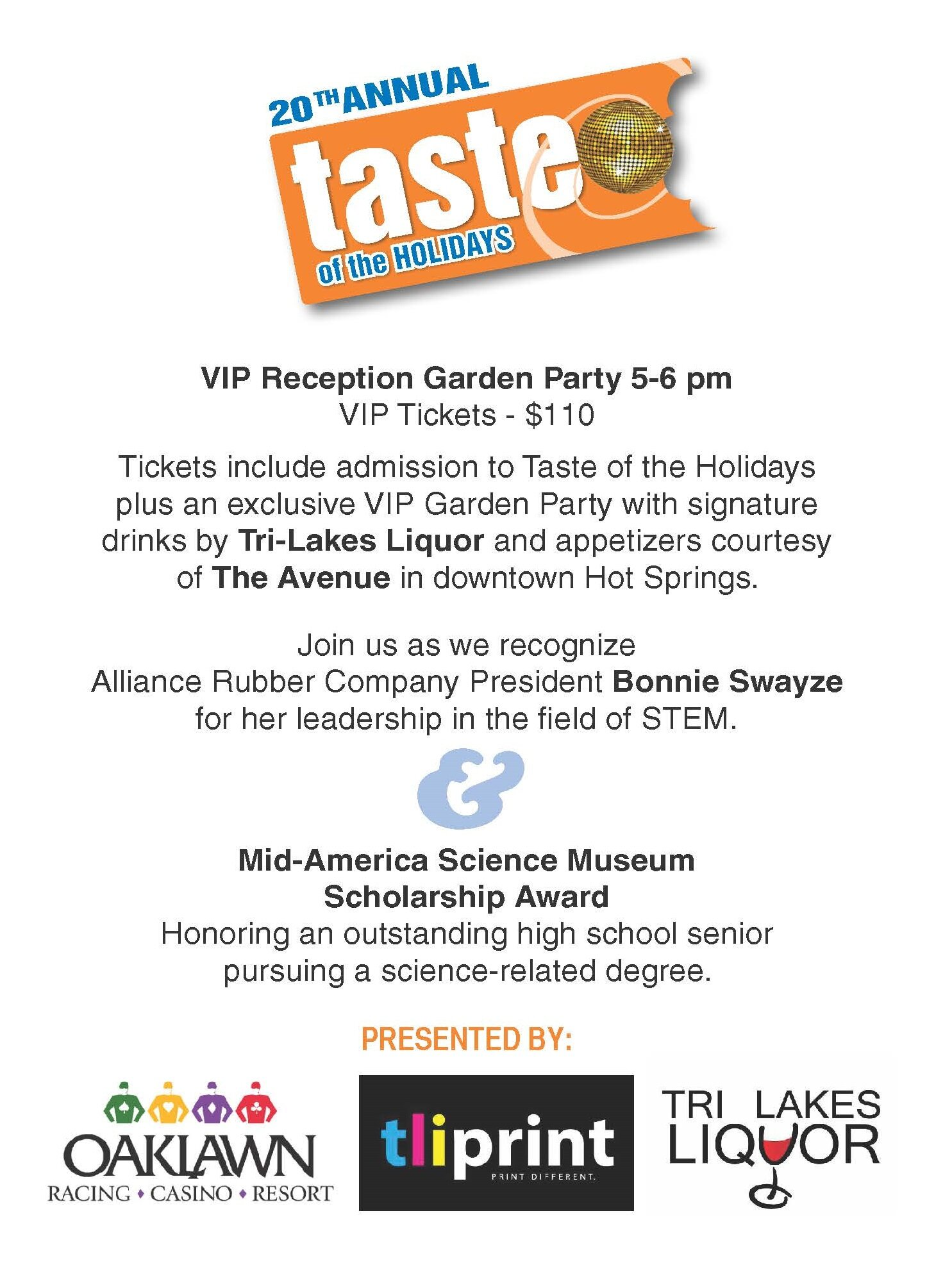 Join us for this year's VIP Garden Party! - Featuring Signature drinks by Tri-Lakes Liquor, food by Casey Copeland from The Avenue and decor by Statements for the Home!
