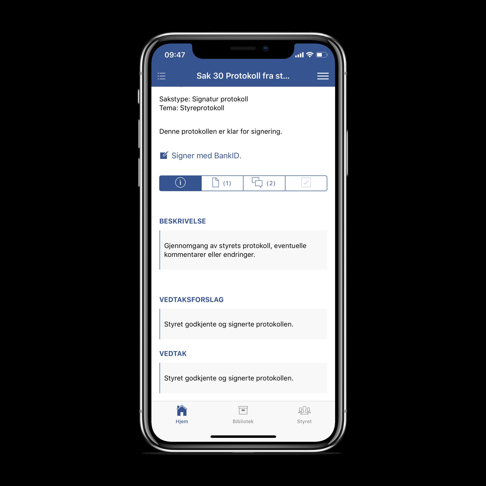 Protokoll kan signeres med BankID, også rett fra appen