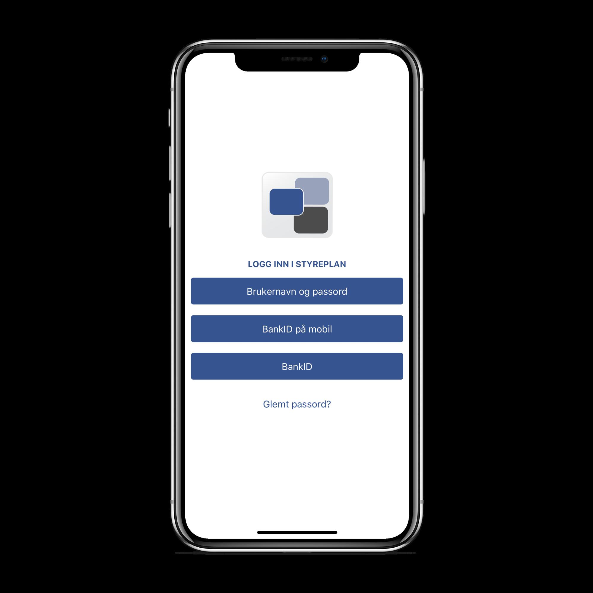 Styreplan støtter innlogging både med ordinær BankID og BankID på mobil