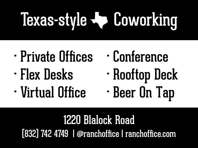 HTX peeps! 🤠 The Ranch will offer private suites, open workspace, virtual address services, and more.  Don't forget about happy hour! 🍻  With themed conference rooms and creative spaces, it's the perfect place to meet with clients.  DM us for more details! . . . #springbranch #houstonblogger #houstonlife #houstonphotography #houston_photographers #houstontexas #houstonrealestate #houstonentrepreneurs #coworking #coworkingspace