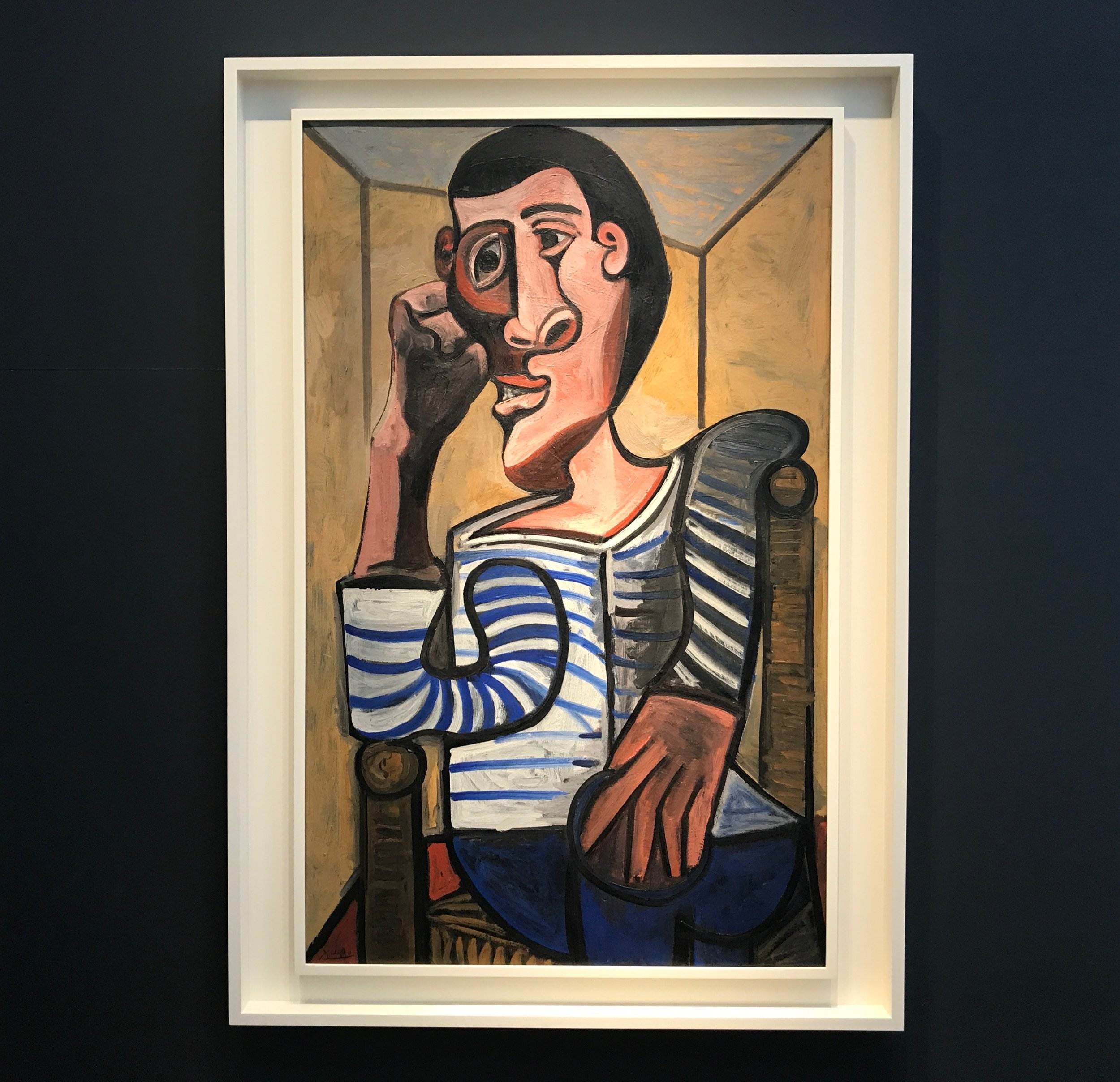Pablo Picasso ,  Le Marin , oil on canvas, signed 'Picasso' at lower left, dated '28.10.43' verso, 51 x 31 7/8 inches.