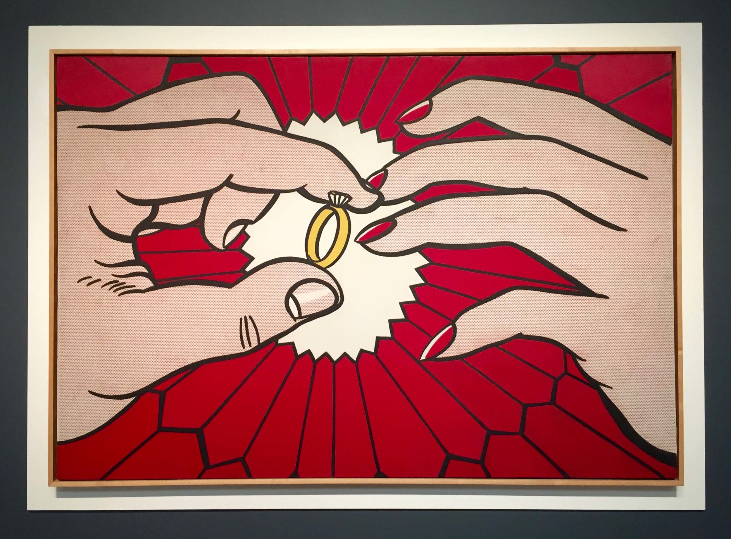 Roy Lichtenstein ,  The Ring  ( Engagement) , oil on canvas, signed and dated '62 verso, 48 1/4 x 70 inches