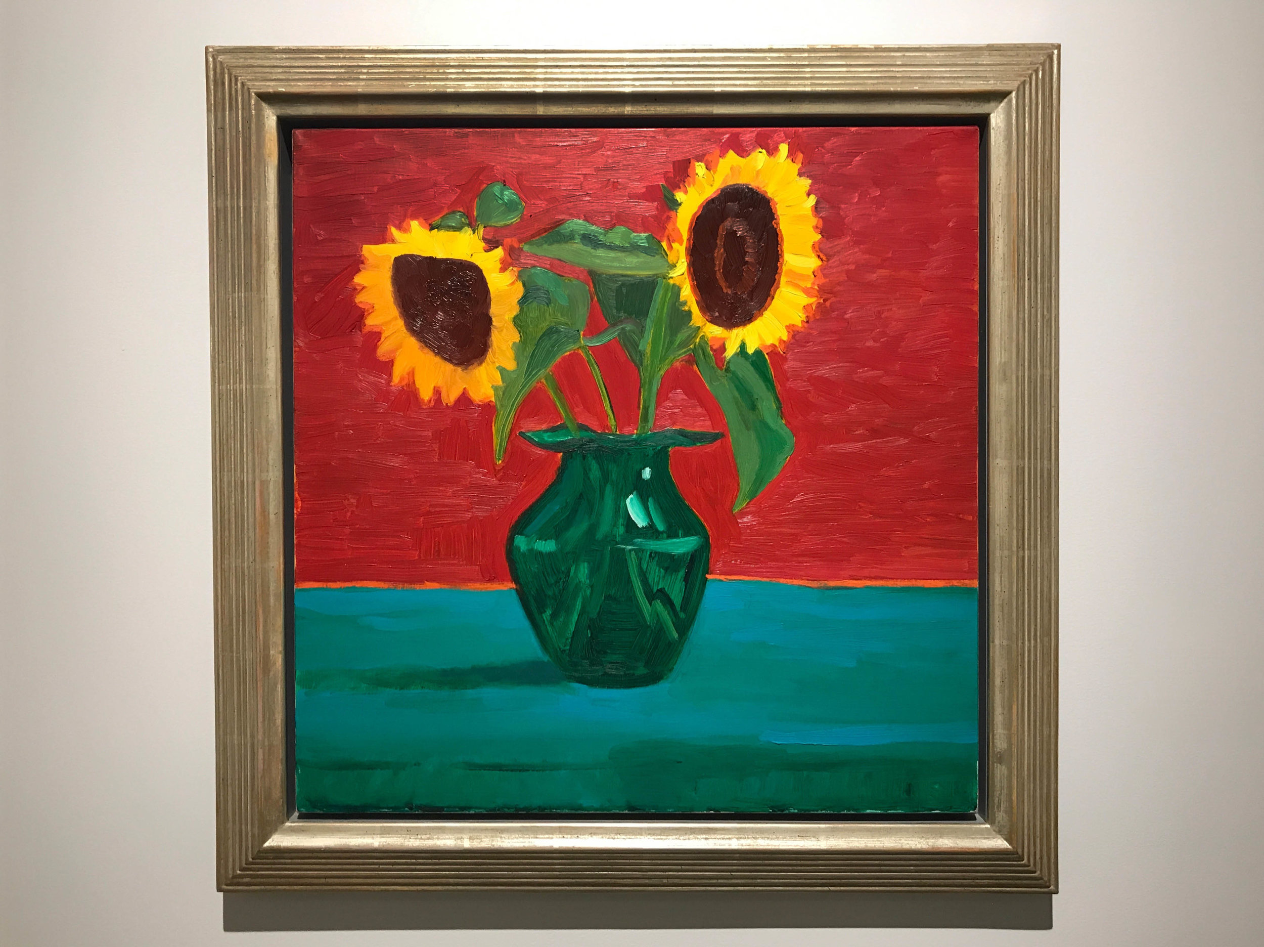 David Hockney ,  Two Sunflowers in Green Glass Vase , 1996, oil on canvas, 24 x 24 inches