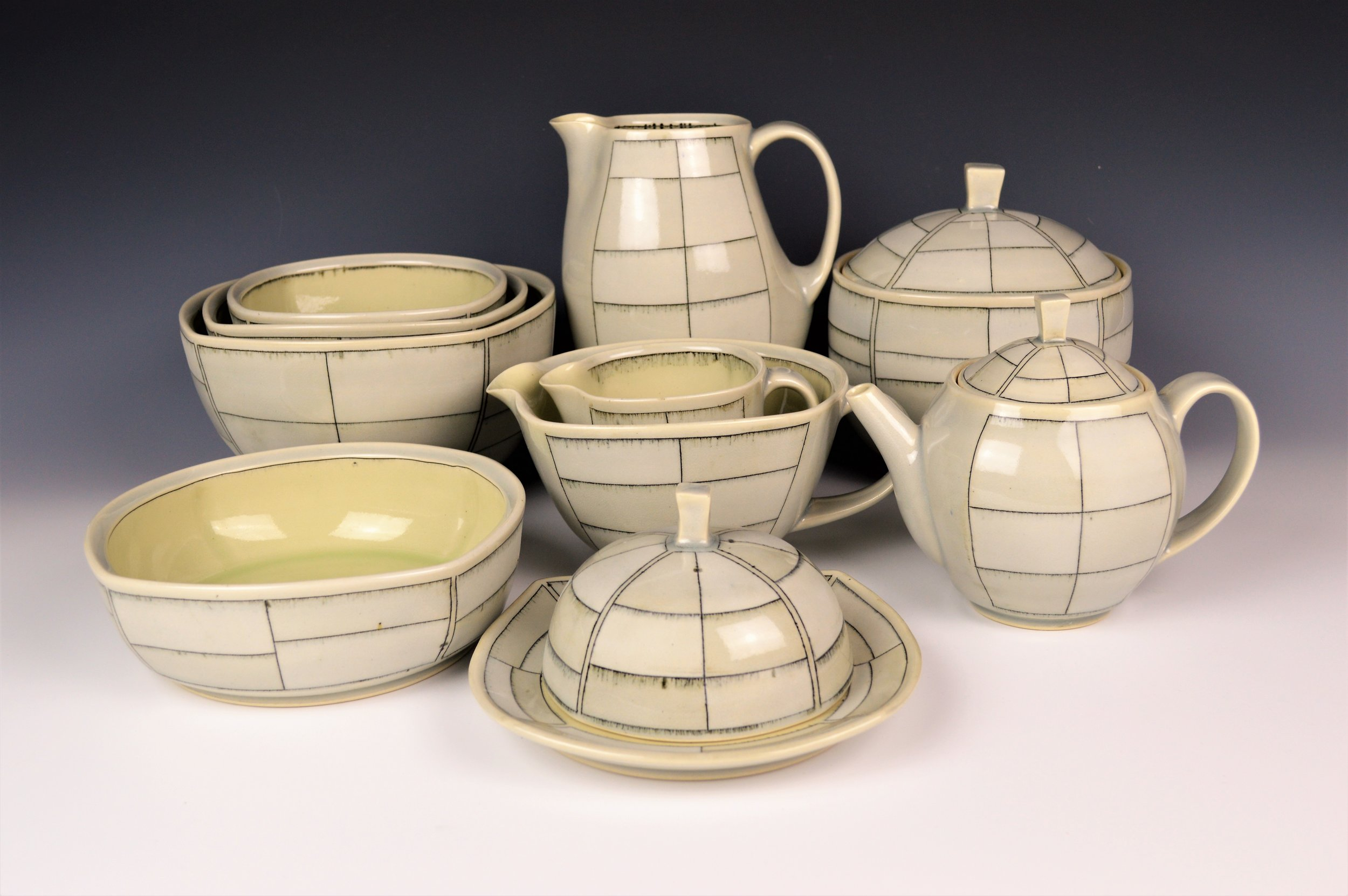 Serving Pieces from Sandblasted Set