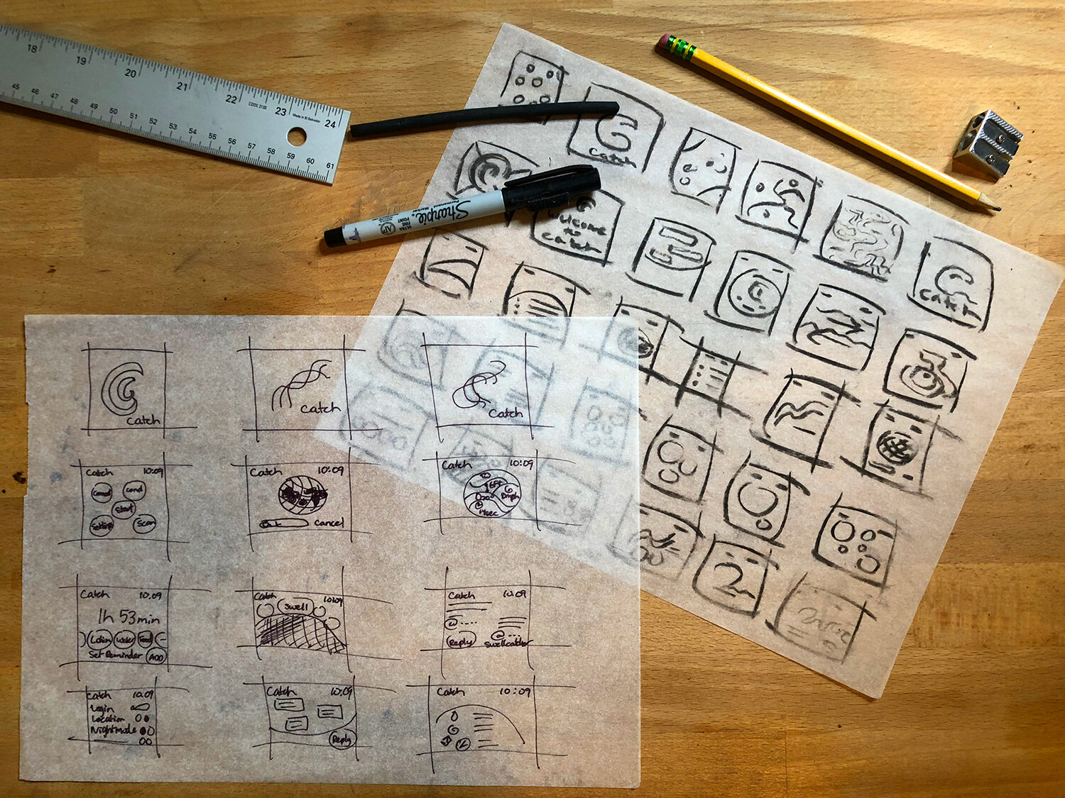 After extensive research on surf applications, sketches were drafted out for initial stage of wireframing. -