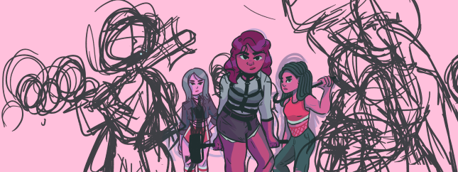So I sketched out some more girls to add in frame, playing with placement of some closer in the foreground and some further out in the background.