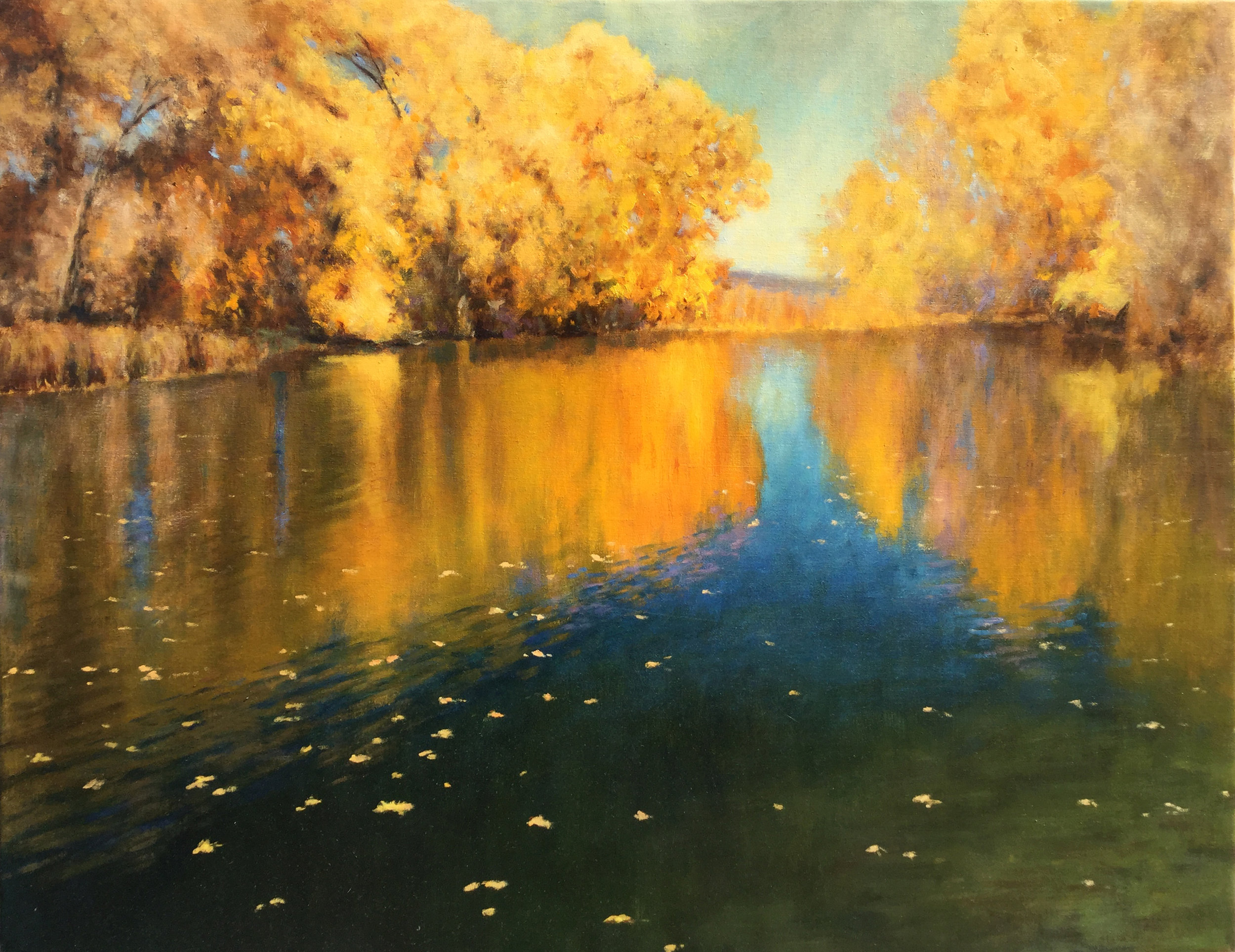 "Fire on the Pond • 32"" x 40"" • Oil"