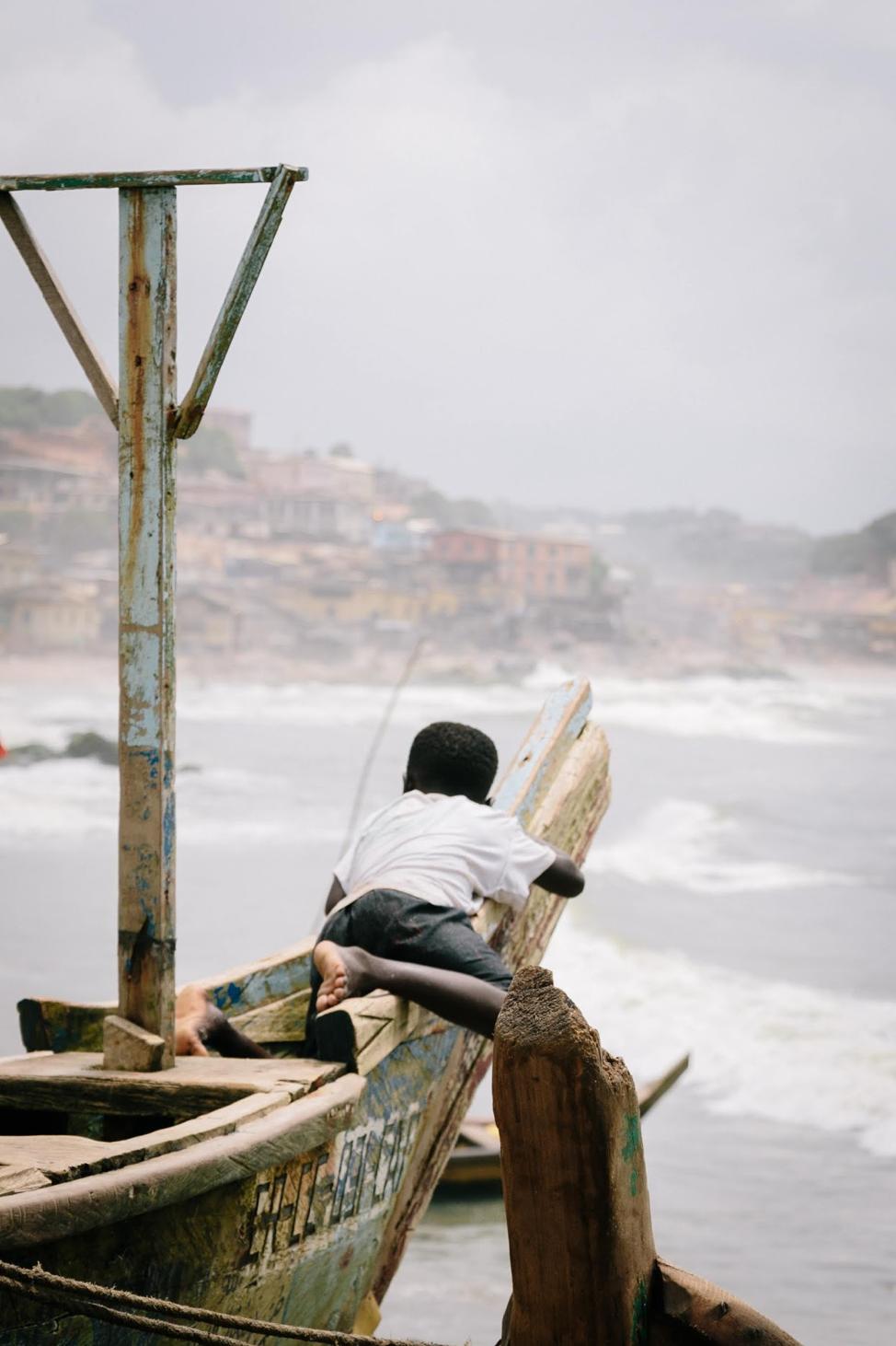 Docked Boat Off Elmina Slave Castle