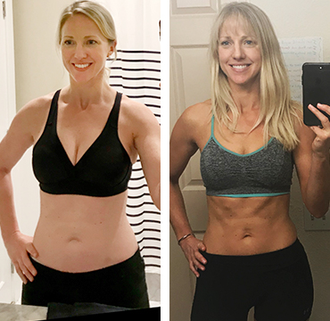 """Sarah P.    """"My arms are chiseled and firm. My abs look leaner and a 2- to 4-pack is now appearing!""""   Lost 25 inches"""