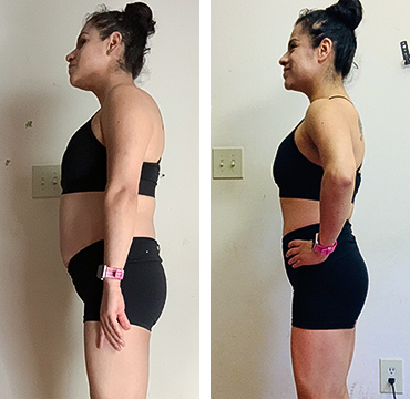 """Patricia T.    """"My waist is smaller, my butt is lifted, I never thought my legs and upper body would have so much progress without weights.""""   Lost 7.9 LBS. of body fat"""
