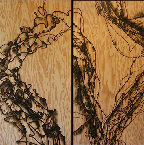 WOOD X NAT - Handcrafted glass-burned wood panel designs by Nat Calao, featuring various types of cherry wood, plywood, basswood and walnut.Glass burned wood panels combines art and nature where inspiration is drawn. Nat found that she wasn't satisfied with painting and drawings, so explored pyrography and loved the aesthetic of burned wood. She found that molten glass allows exploration of an unconventional art form. Nat's designs are the result of her interest in abstract expressionism.