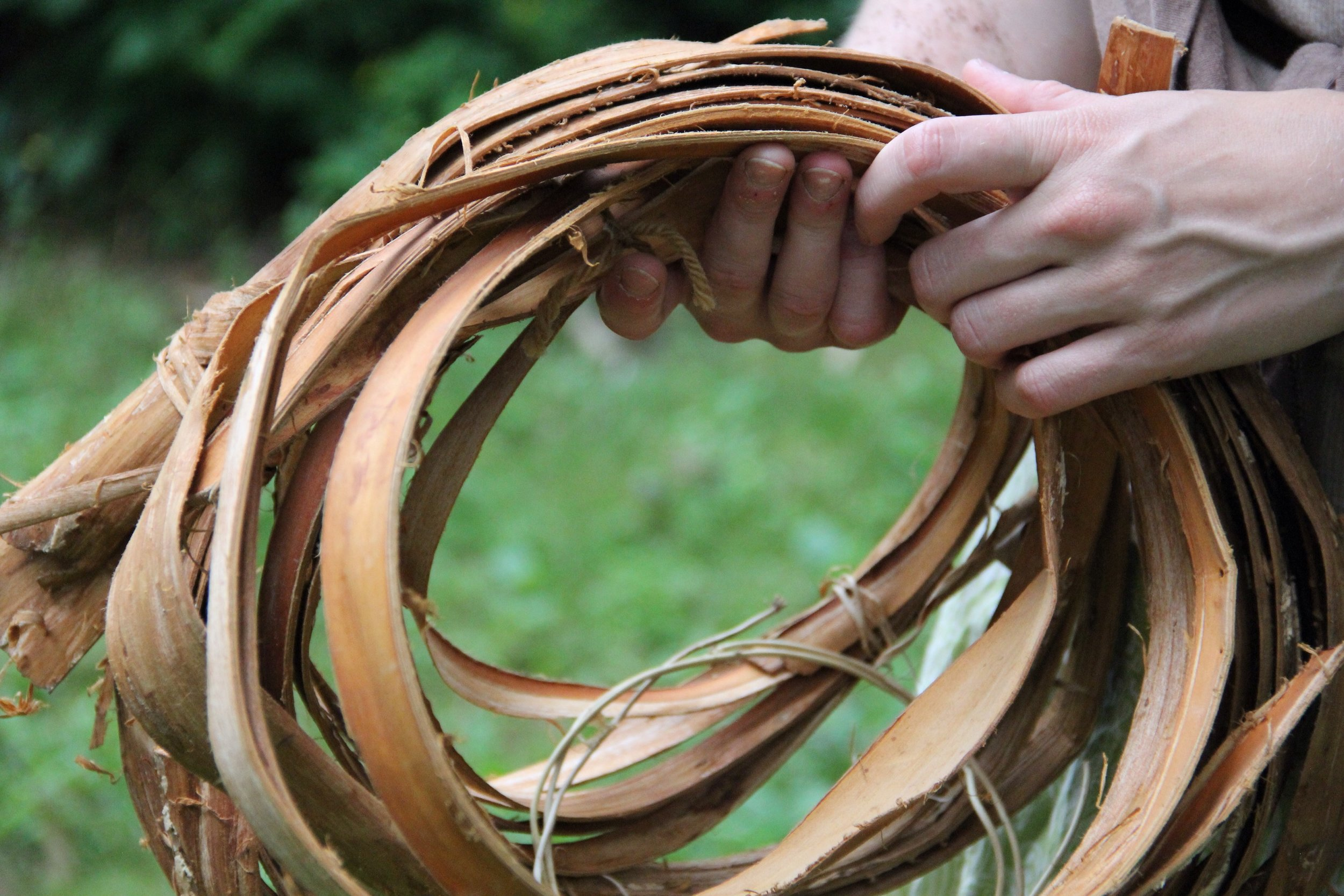 KATIE GROVE BASKETS - Going out into the forests and fields, harvesting materials from nature, and sitting down in the sun to weave a basket is Katie's idea of a perfect day! As an artist her passion is to create art with all natural materials that she harvests and prepares from the beautiful landscape around her home. As an educator, she guides adults and children alike in connecting to their creative self through the combination of art and nature. With a background in Fibers Art from Tyler School of Art in Philadelphia and a BFA in Printmaking from SUNY New Paltz, Katie Grove currently exhibits work regionally in galleries and teaches nature and art workshops throughout the Hudson Valley.