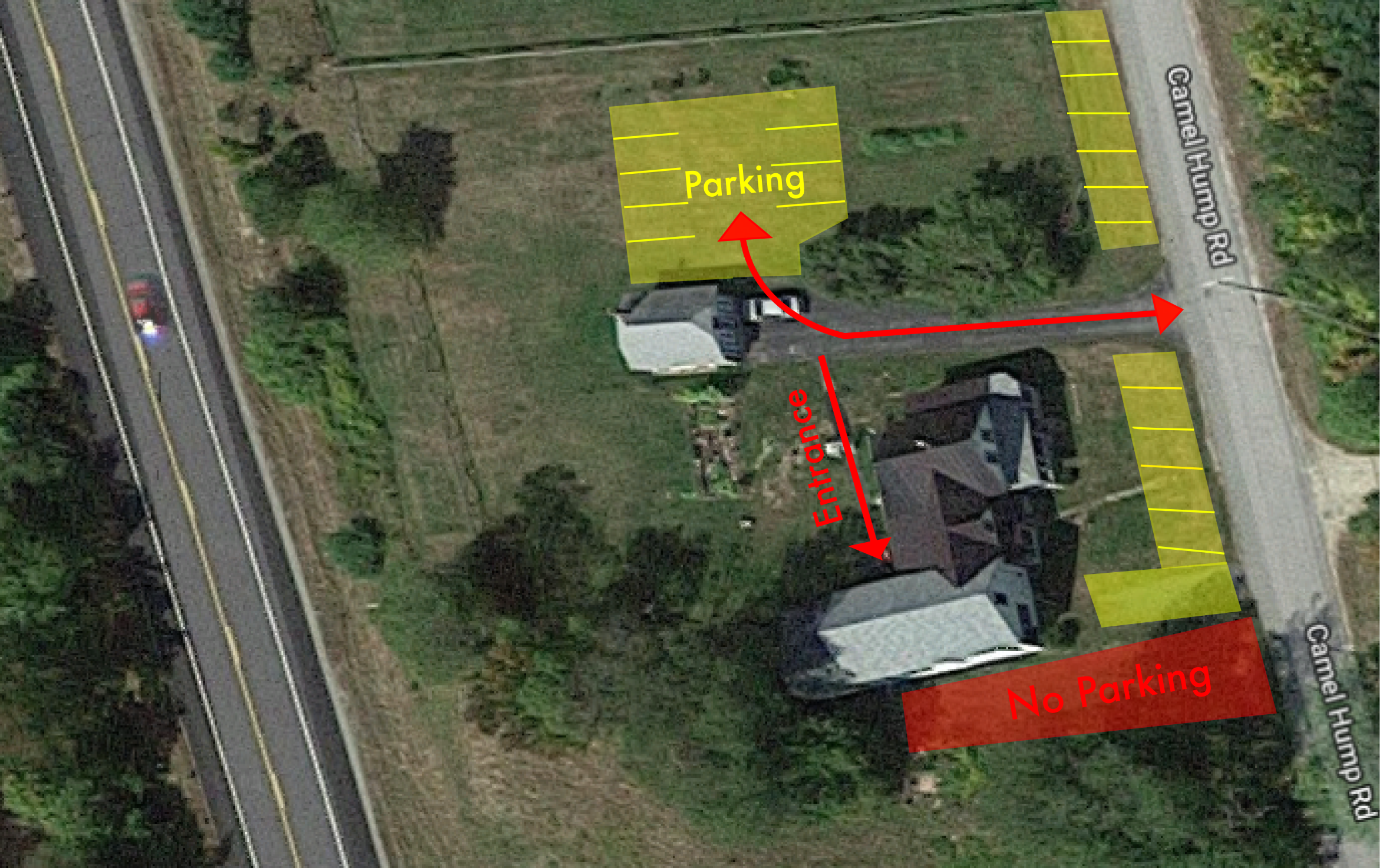 Where to park and enter the tasting room
