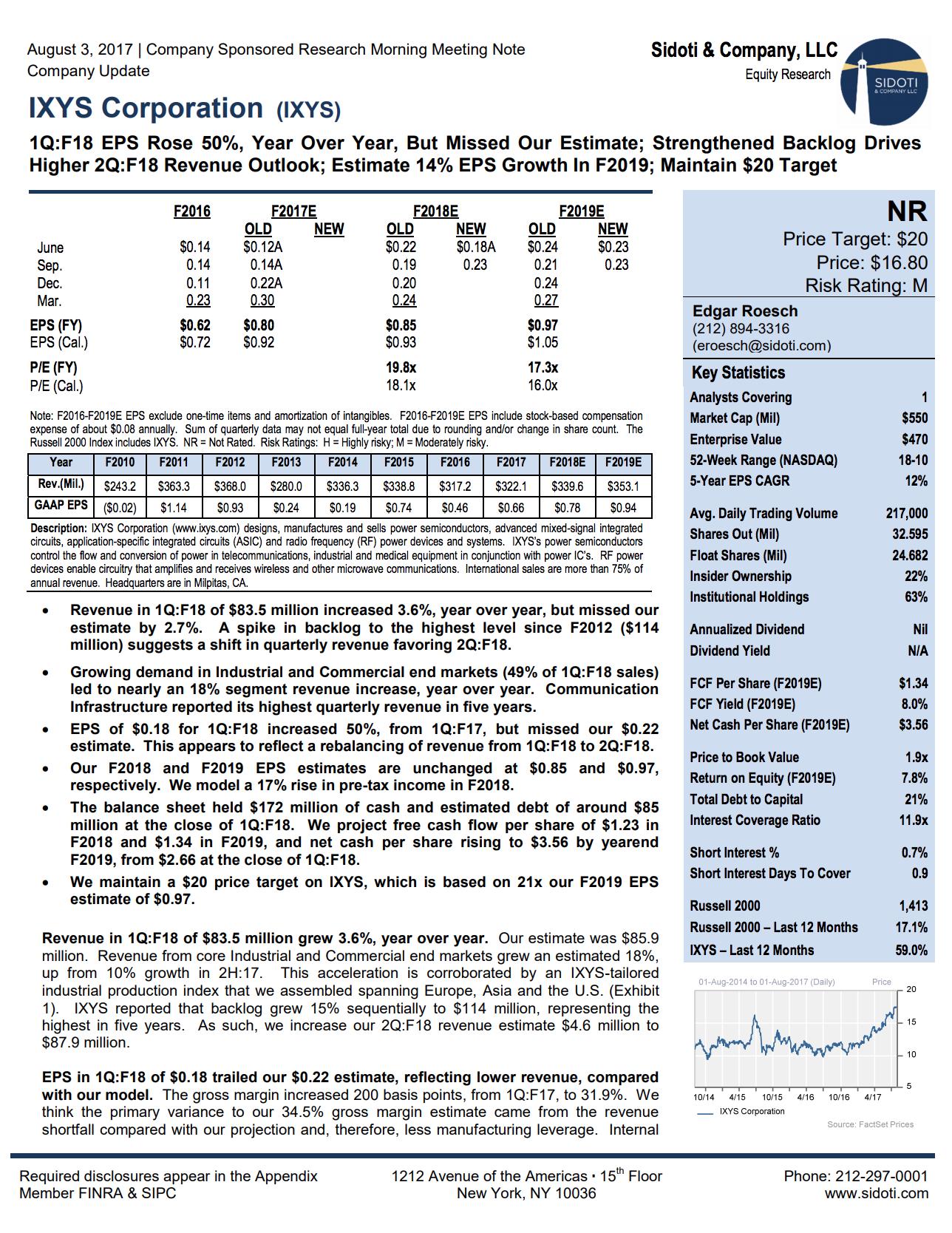 Earnings Report: August 3, 2017