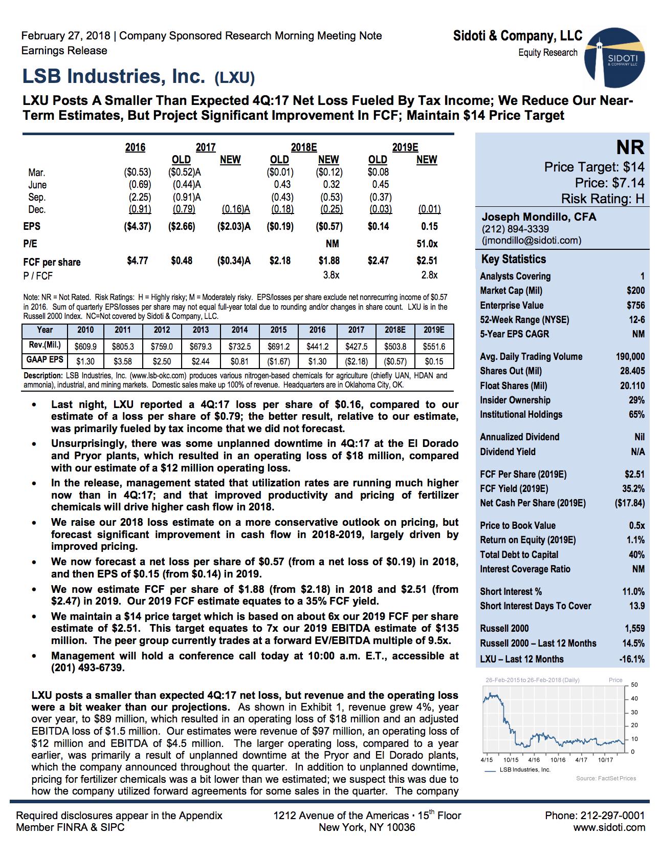 Earnings Report: February 27, 2018