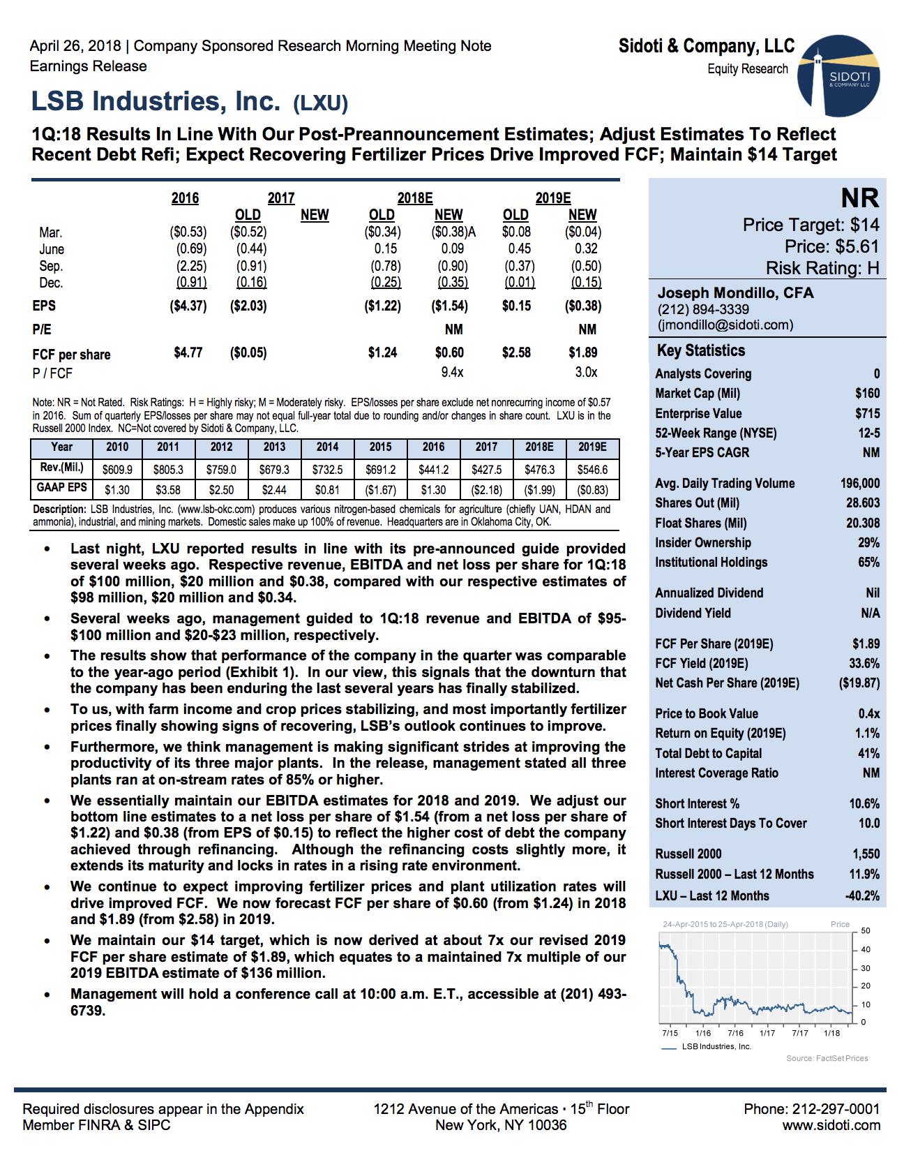 Earnings Report: April 26, 2018