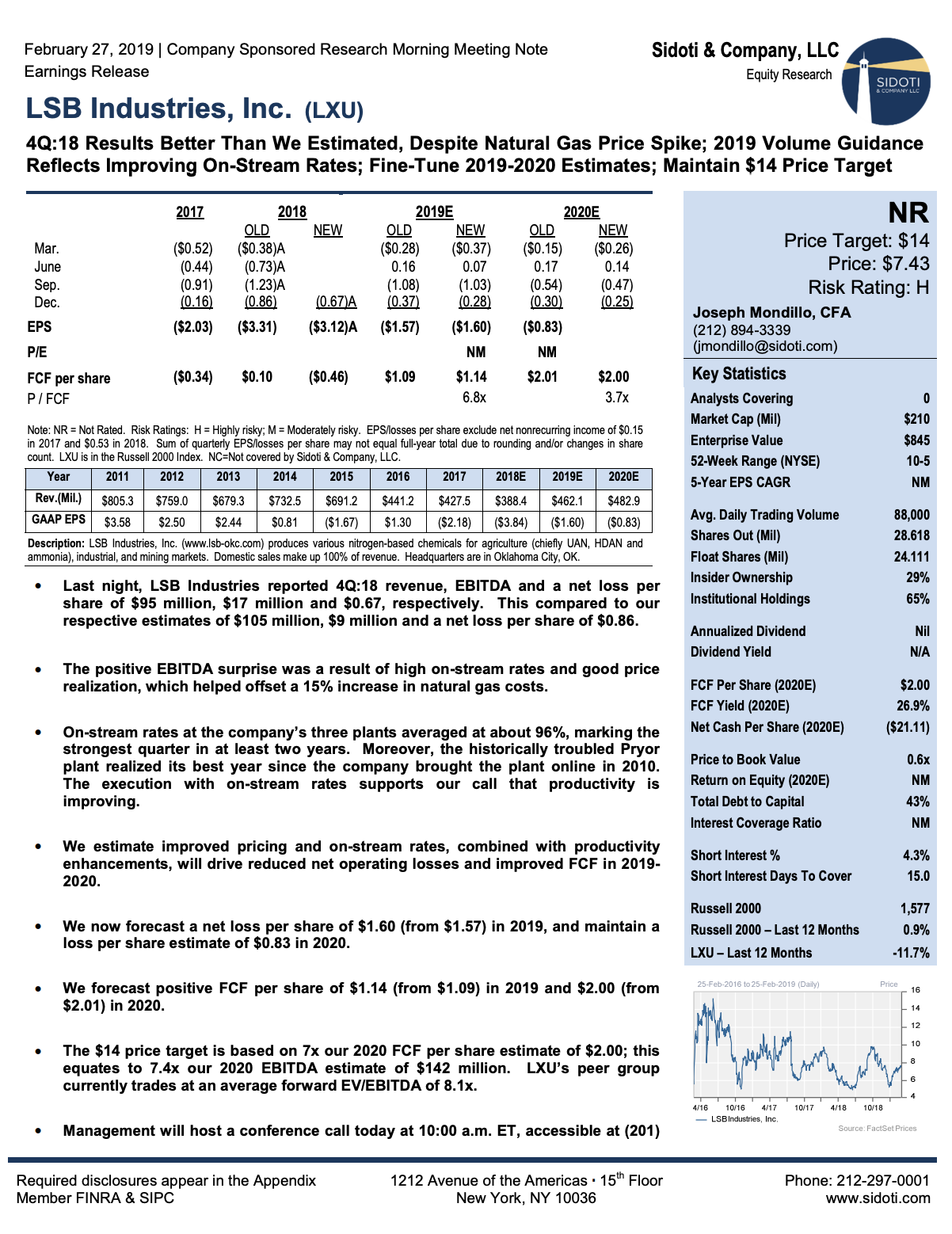 Earnings Release: February 27, 2019