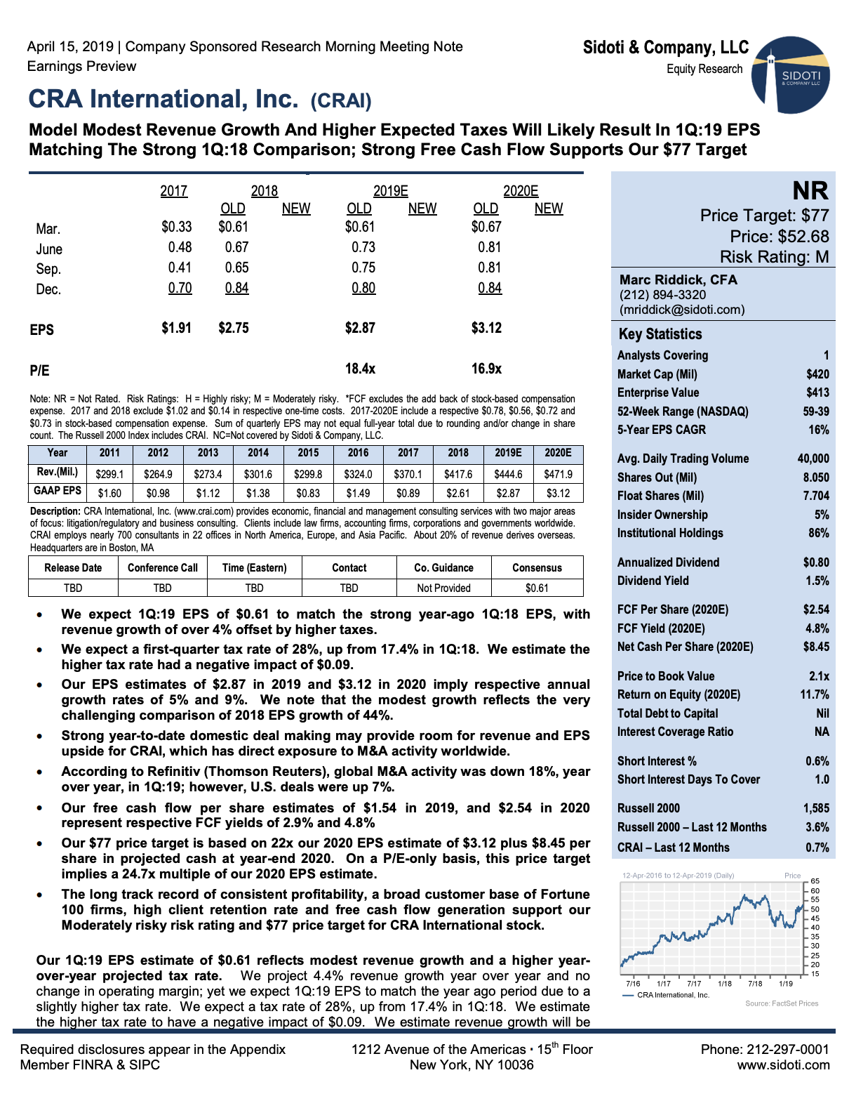 Earnings Preview: April 15, 2019