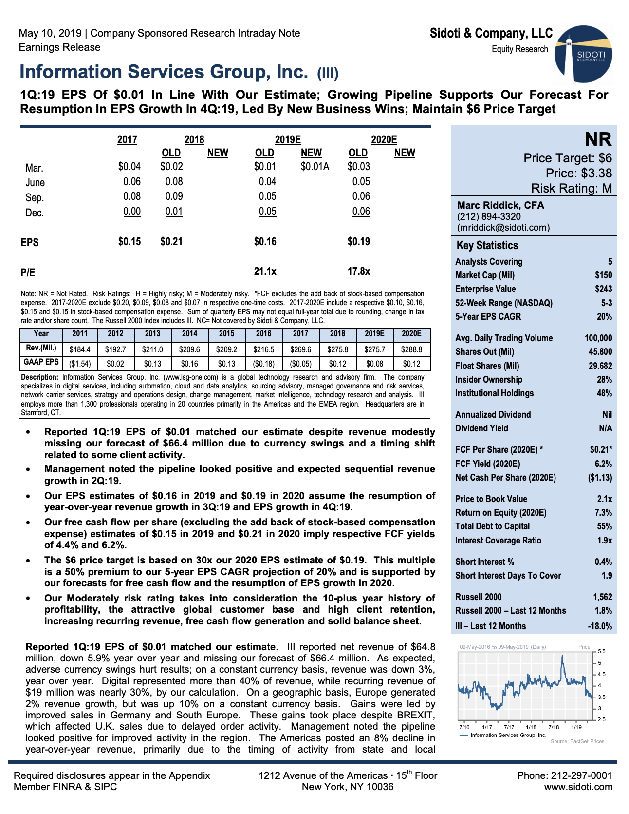 Earnings Release: May 10, 2019