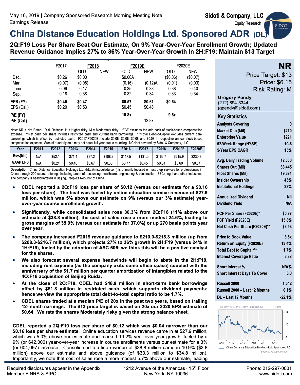 Earnings Release: May 16, 2019