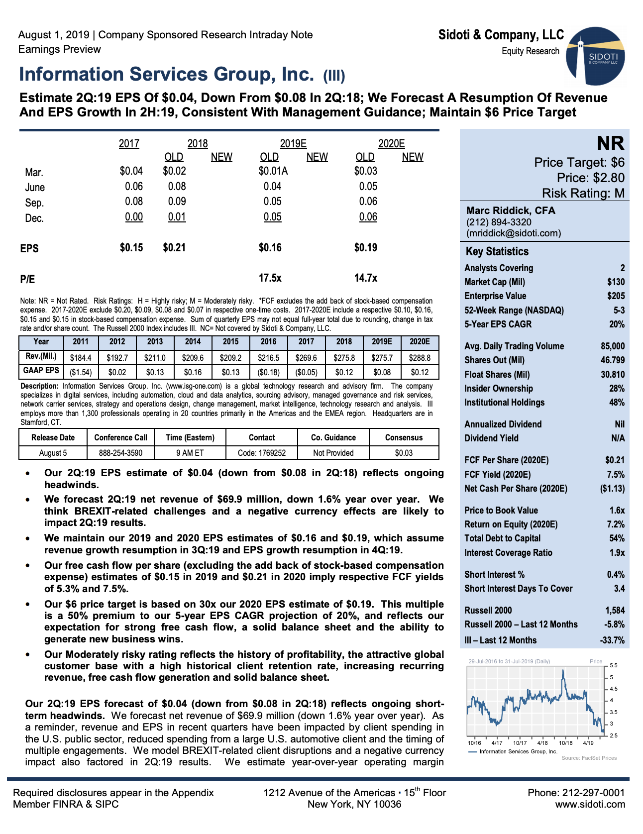 Earnings Preview: August 1, 2019