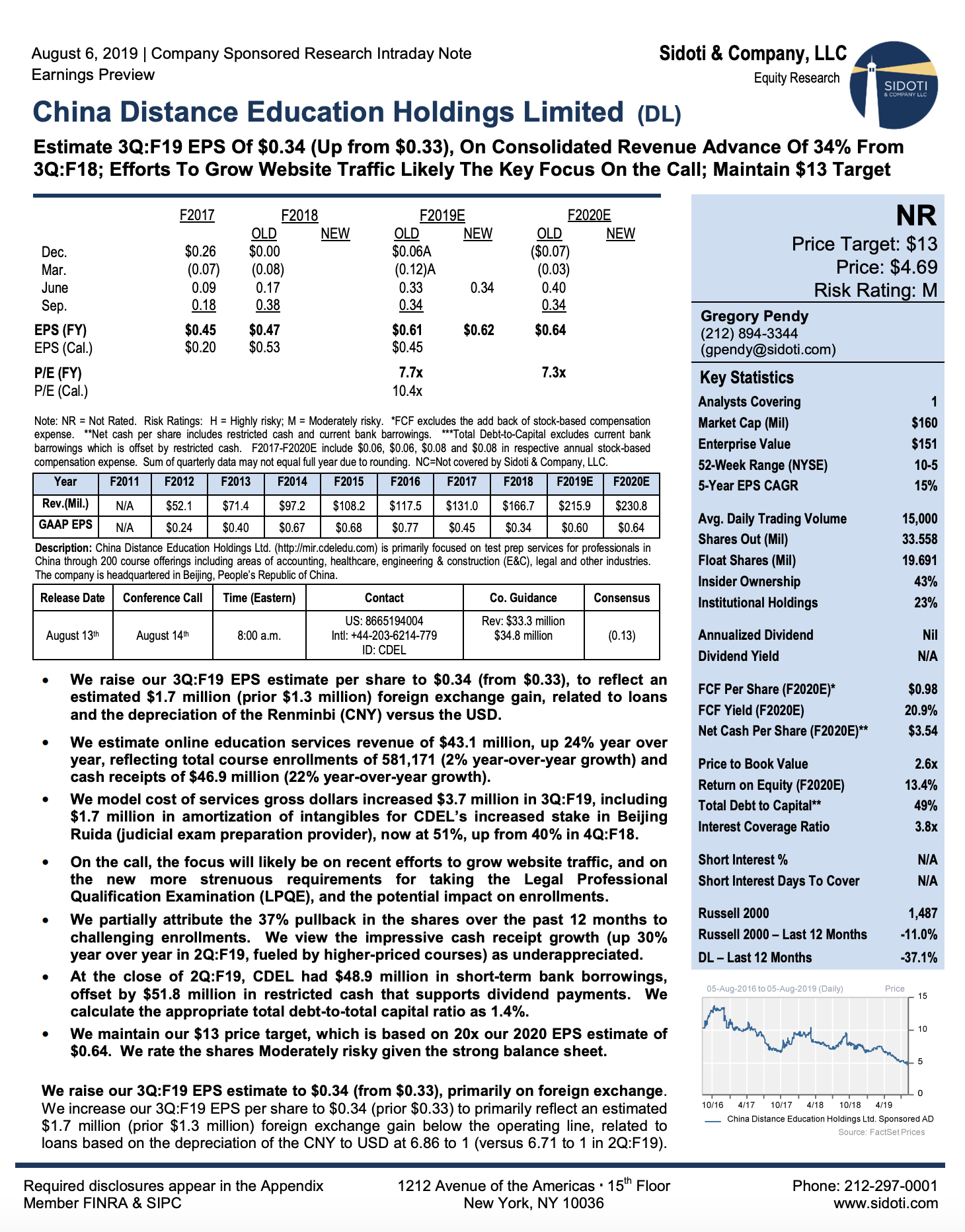 Earnings Preview: August 6, 2019