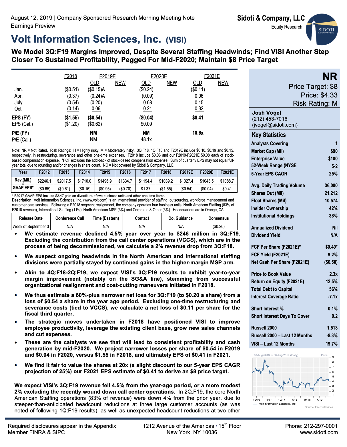 Earnings Preview:  August 12, 2019