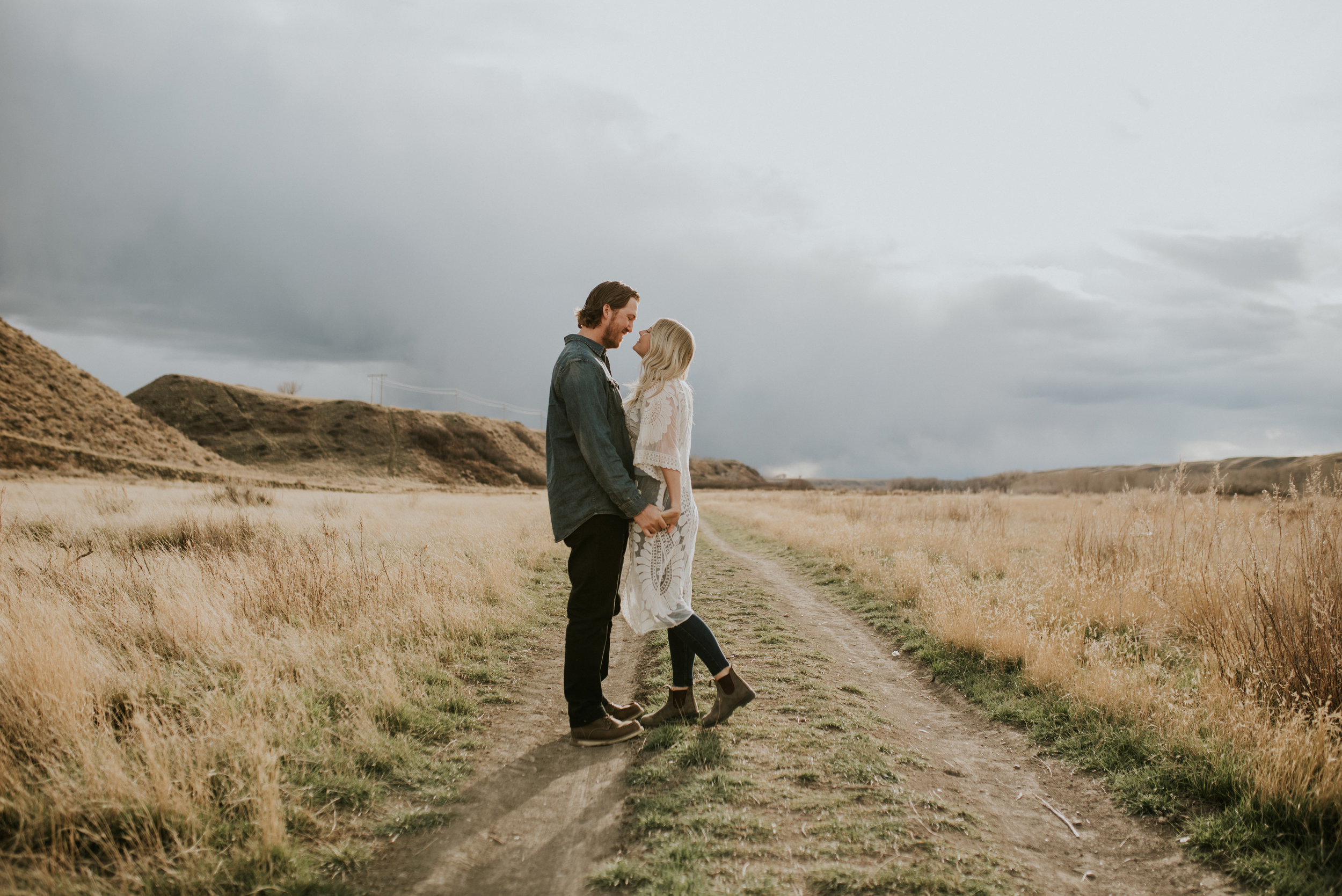 playfully romantic engagement session, Taber Alberta