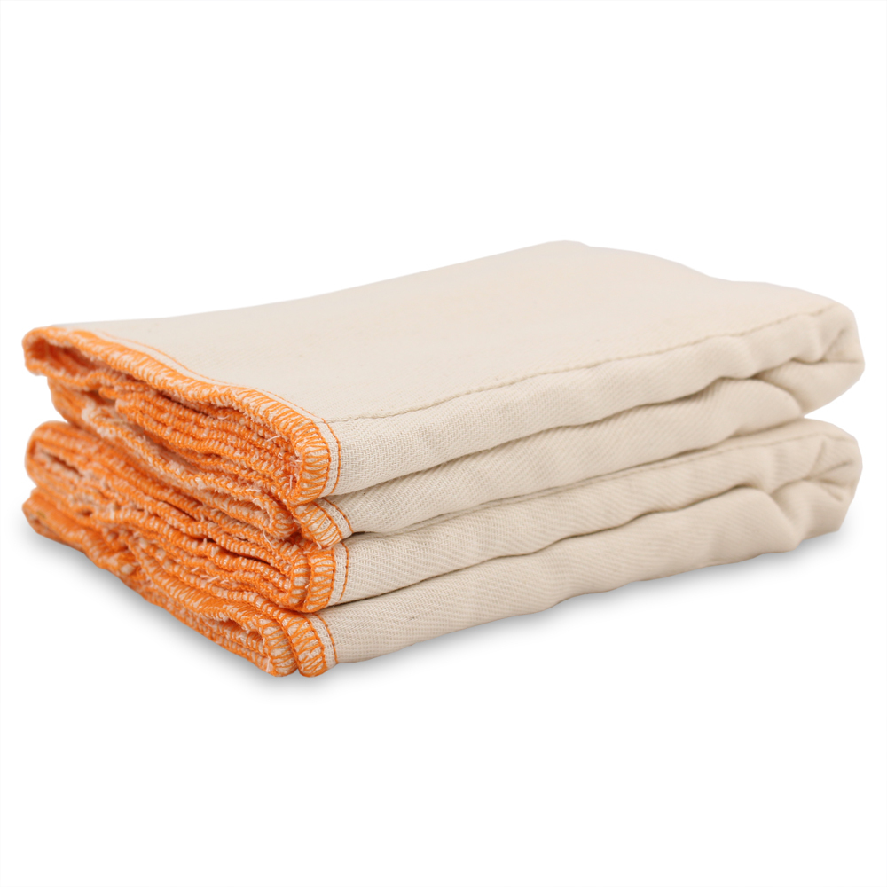 🍁  Rearz   Old school and reliable, pre-fold diapers can be fastened with a Snappis combined with a liquid-repelling PUL or wool cover for added protection. We carry Rearz unbleached Indian cotton Prefold diapers from sizes Newborn (4-9lbs) through Large (30-45lbs).
