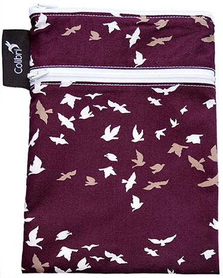 🍁   Colibri    Owned and operated by two women and made in Canada, Colibri bags make excellent choices for storing and travelling with your menstrual products. The mini double-duty bags have a dry section for clean products and wet section for dirty ones. The pocket wet bags are also very helpful for smaller products. We carry the full line of Colibri products