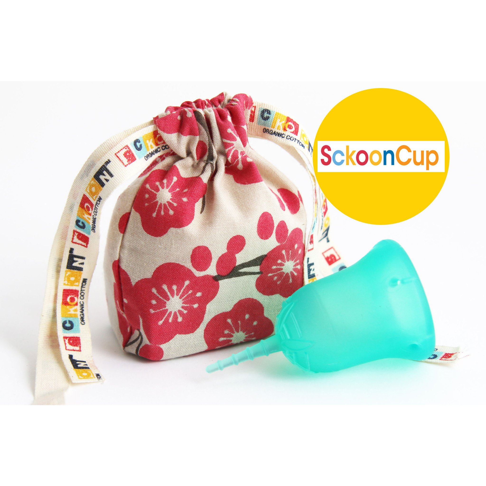 Sckoon    Often recommended for a low cervix or sensitive insertion, the Sckoon menstrual cup is the softest on the market. We carry it in size 1 and size 2 and it comes with its own drawstring bag.