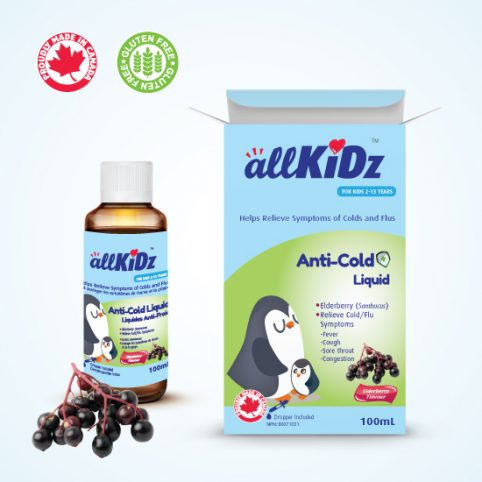 🍁  a llKiDz™   The allKiDz™ Anti-Cold Liquid has no artificial flavours, colours or sweeteners. No dairy, peanuts, shellfish, soy, tree nuts, wheat or yeast. No aspartame, parabens or sodium benzoate. Non-GMO and gluten free. We carry the allKiDz™ Anti-Cold Liquid, DHA Fish Smart, and Vitamin D3 Drops.