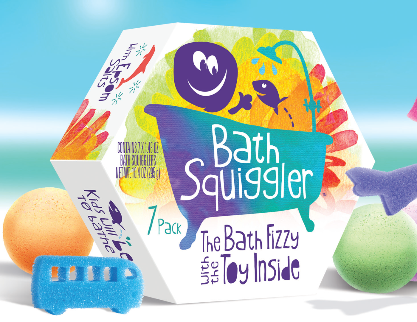 🍁    Loot Toys Bath Squigglers    These fun, lightly scented bath squigglers will fizzle away, leaving the bath a fun colour. Once fully dissolved, a sponge toy is revealed. Hand-made, safe, non-toxic and 99.5% natural, Squigglers are ASTM, CE, CPSIA and Health Canada approved for children over 3. Vegan, Gluten-free. Food and cosmetic grade, Your kids will beg to bathe!