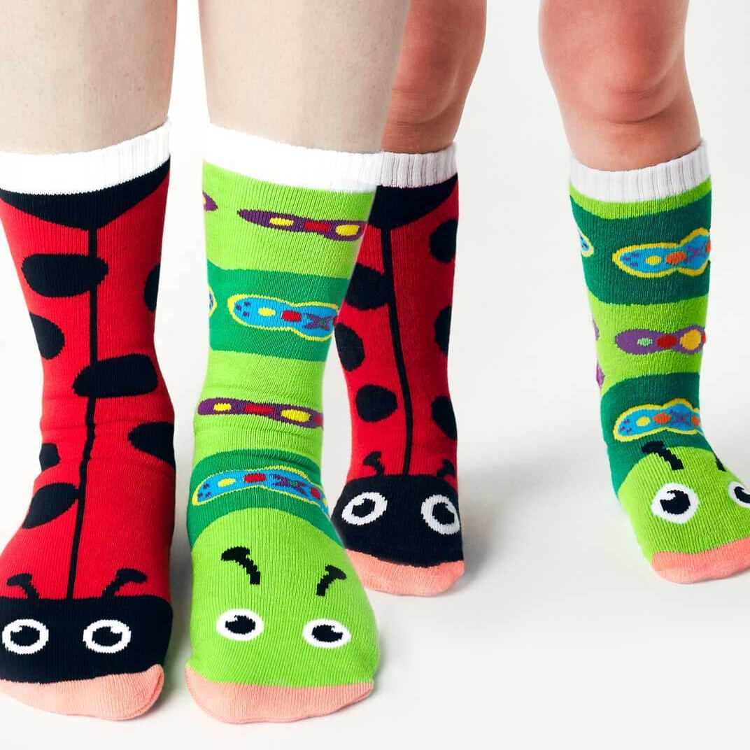 Pals Socks   Intentionally mismatched, these ultra comfortable grip-bottomed socks come in a wide variety of cute pairings. We sell sizes from newborn to 8yrs old.