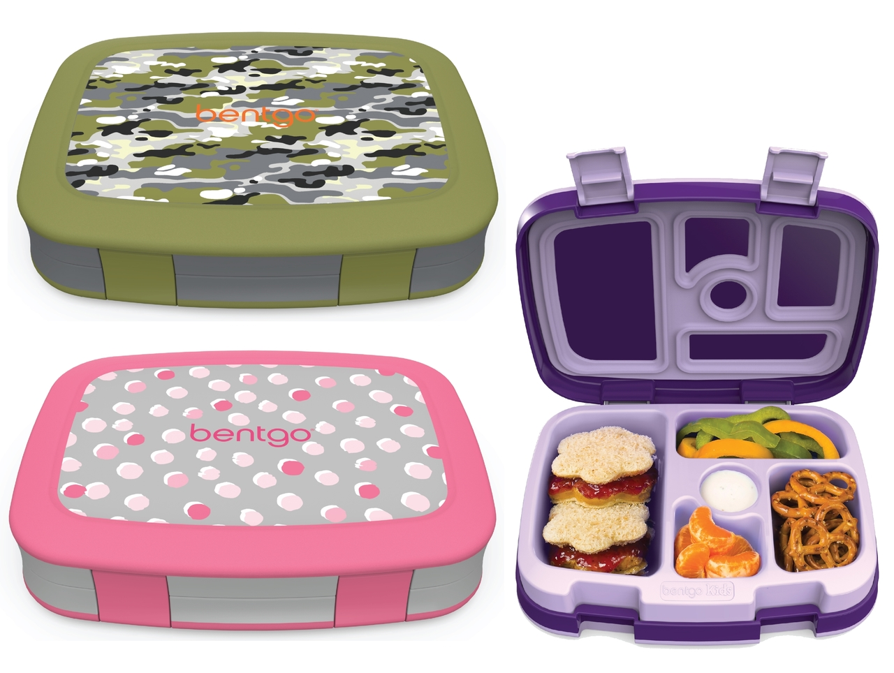 BentGo   Give your child's lunchbox a fun and stylish makeover with bold, new patterns from Bentgo Kids. This one-of-a-kind, leak-proof lunch container features a compartment for fruit, veggies, dip, an entrée, and dessert. We carry BentGo Kids patterned lunch boxes and replacement trays if your existing BentGo needs a refresher!