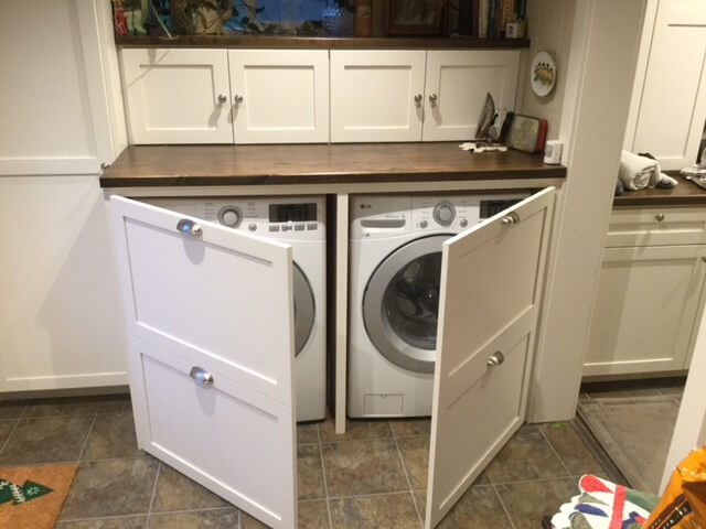 Washer Dryer In The Mud Room, Building Cabinets To Hide Washer And Dryer