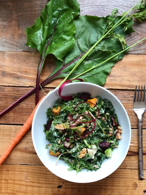 Root to stem salad - Wait! Don't throw that out! Let's cut down on waste by using the entire food and infuse even more nutrition into our meals. Did you know that carrot greens contain 6 times the vitamin C of the root and are a great source of potassium and calcium?!