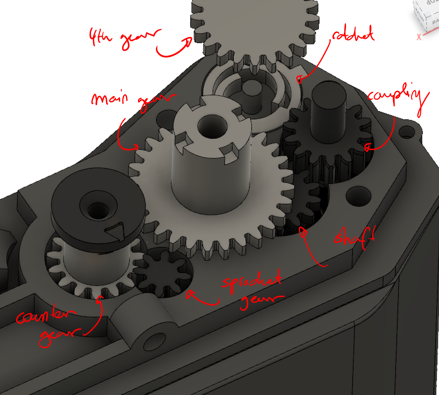 Step 4 : Gearing Assembly - Start by putting the sprocket tube in the body, then put the sprocket gear through it. Now put the counter gear on its pin, insert the take-up spool/shaft, and put the ratchet in the direction as shown. You can now screw on the gear spacer.Now take apart a ballpoint pen to get its spring, cut it to the appropriate length ( about the size of the coupling pin, but adjust as needed) and slide it onto the coupling pin. Then put on the coupling gear and the main gear on their pins, as well as the rewind shaft in its spot. Put the conical spring on the rewind shaft, so that the bottom has the smaller side, this will keep it from accidentally slipping.If you find that the gearing is feeling rough, you can sand the gears surfaces a bit (not the teeth, but the flat parts that might be rubbing on the body/spacer and/or add some general purpose grease.