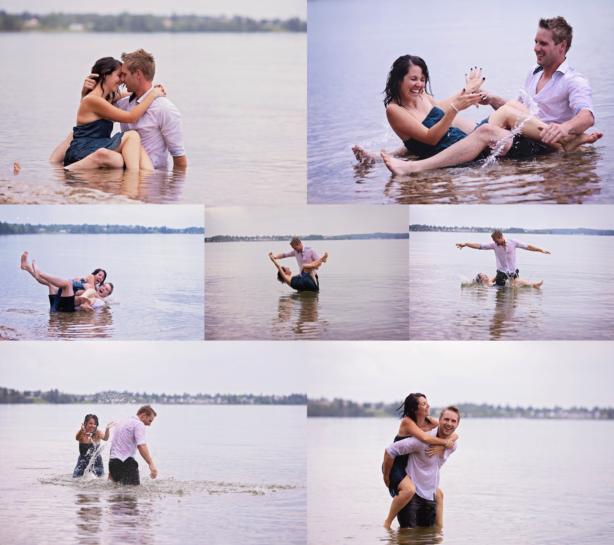 couple playing in the water cute
