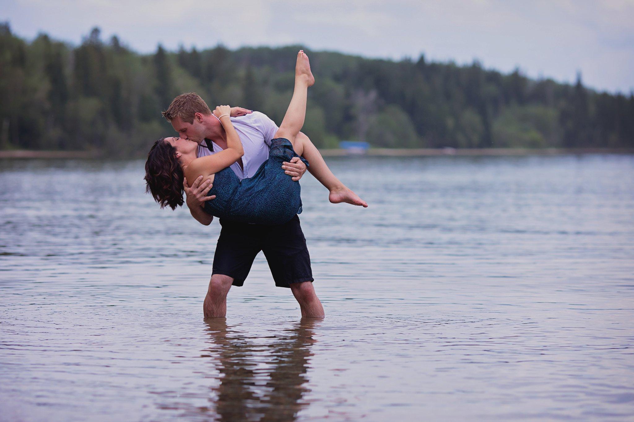 romantic dip in the water