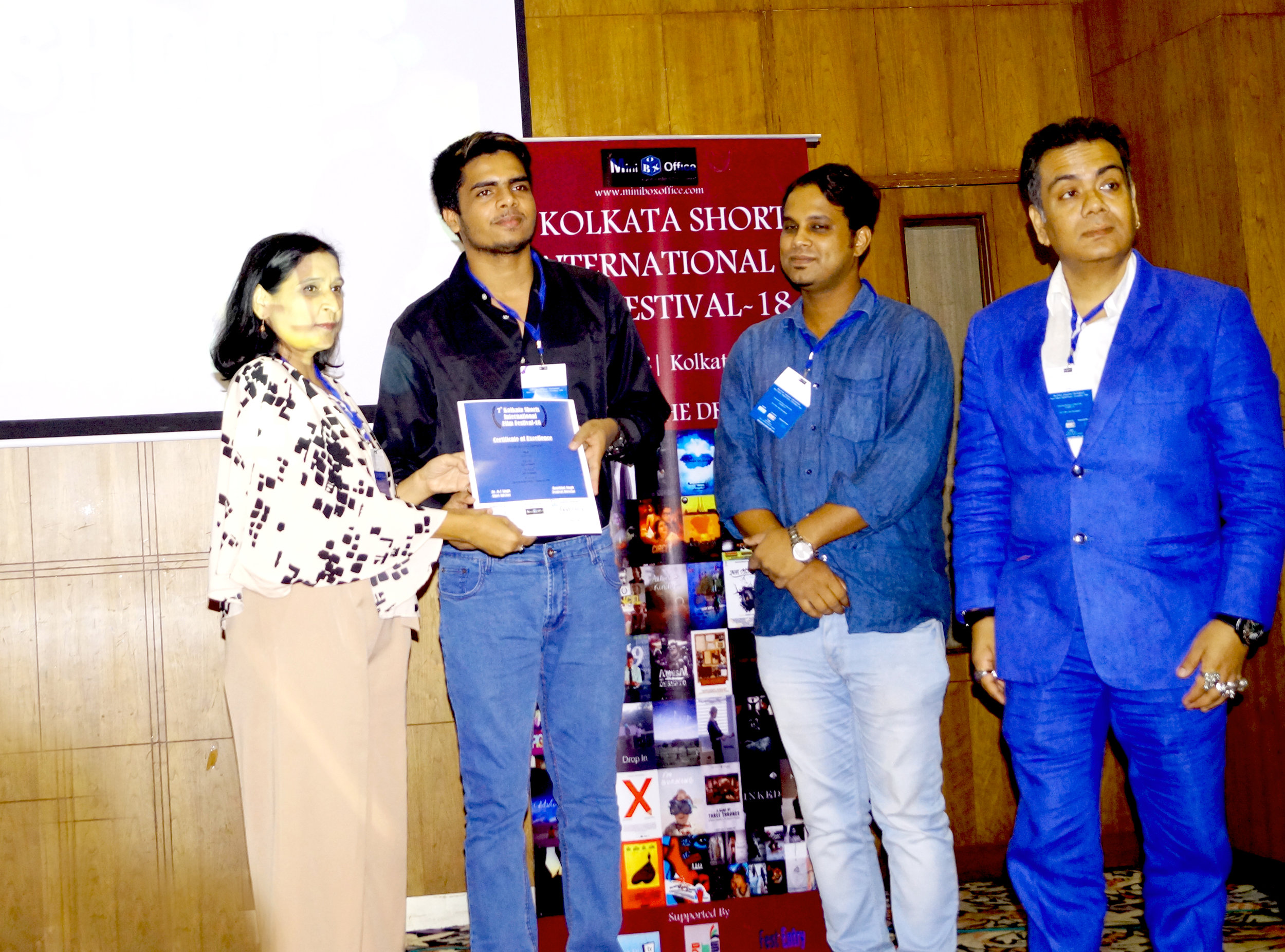 Our Media Executive Rupesh Sahu (2nd from left) collecting the certificate