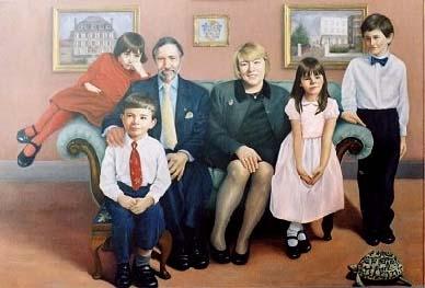 Baron Cloaue de Gohr & family - oil