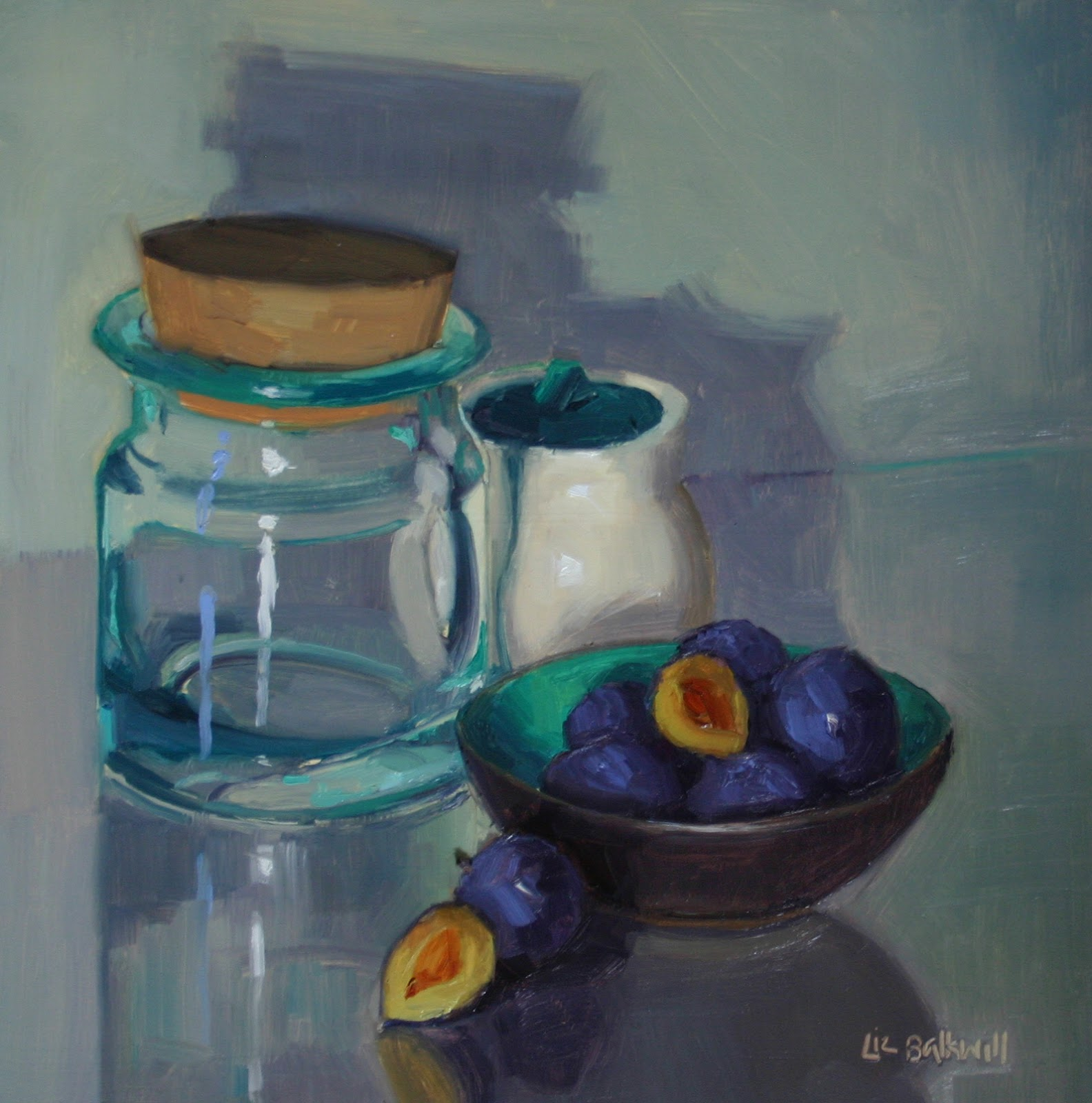 Dish of Damsons small - Oil