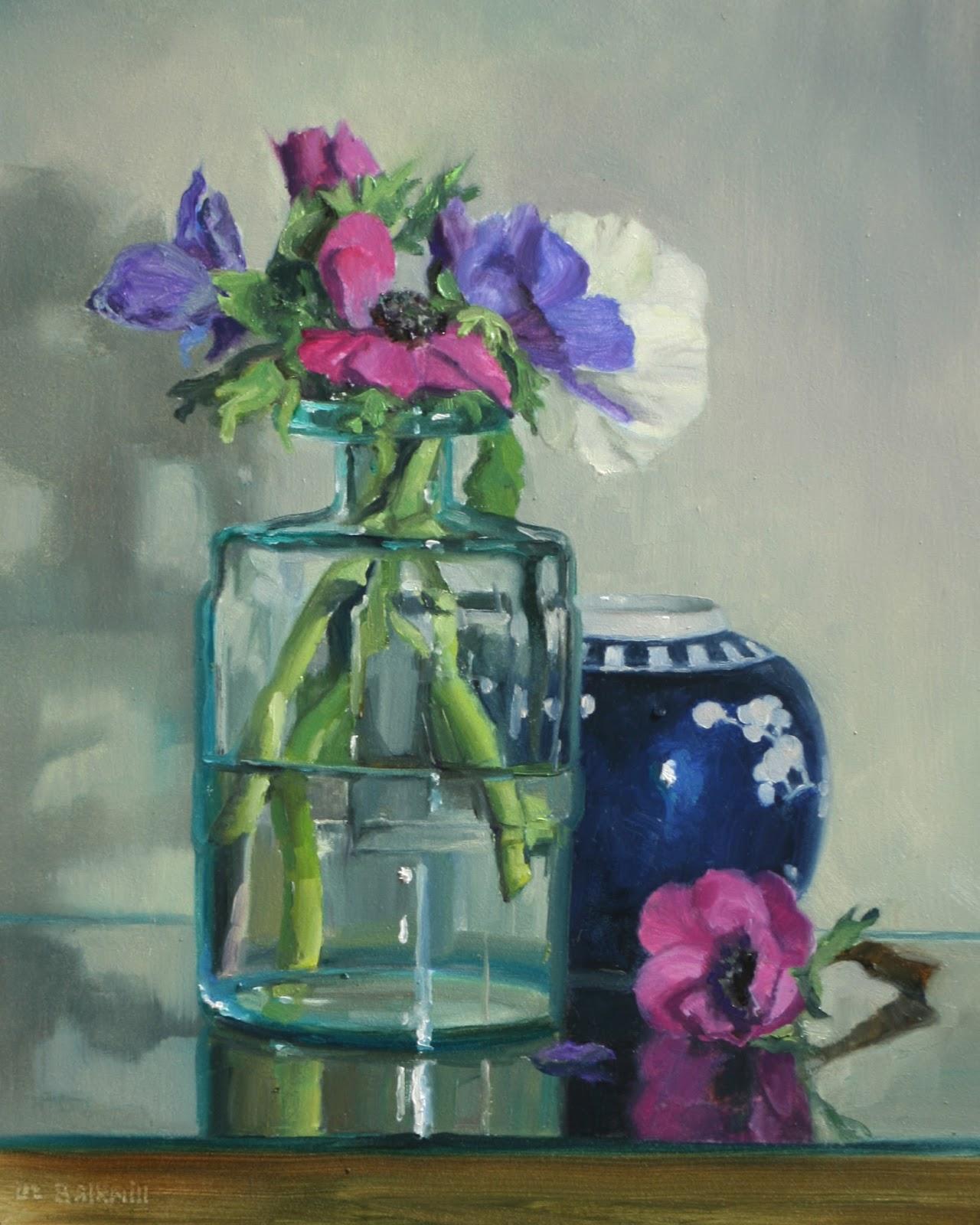 Anemones in glass jar - Pastel