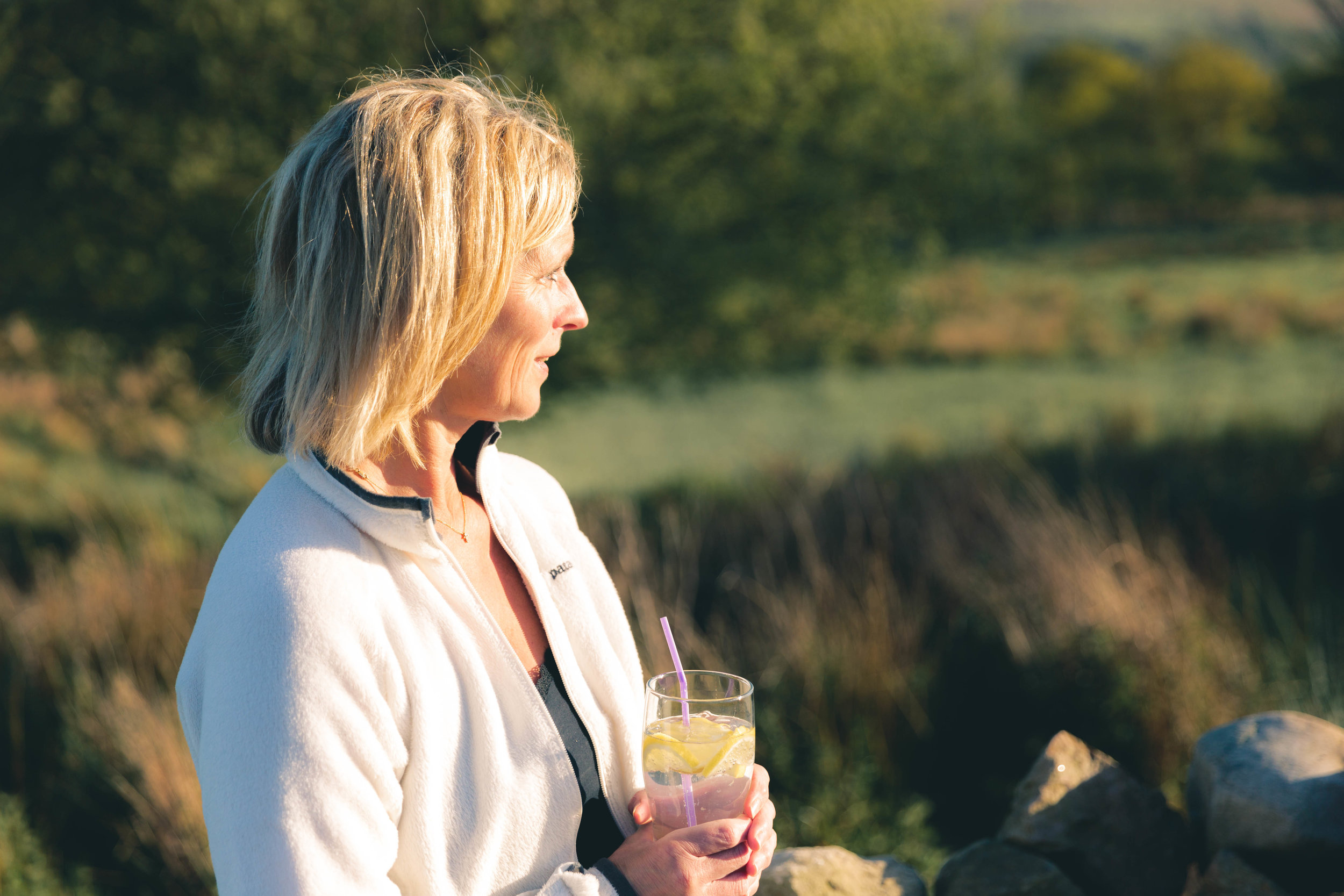 In May, I went with my family to stay in Goathland. This is my mum enjoying a well-earned G&T whilst she watches the sun go down.