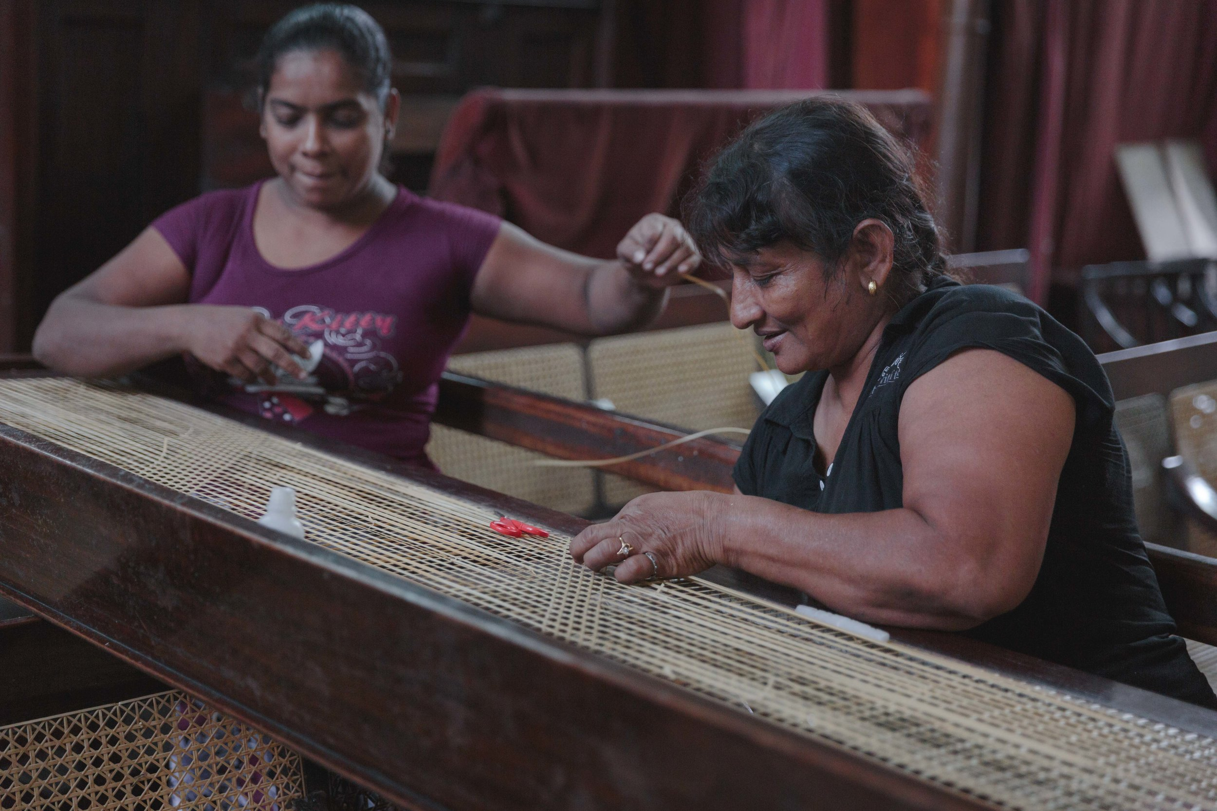 These ladies were making pews in the Dutch Church They were way comfier than the UK pews.