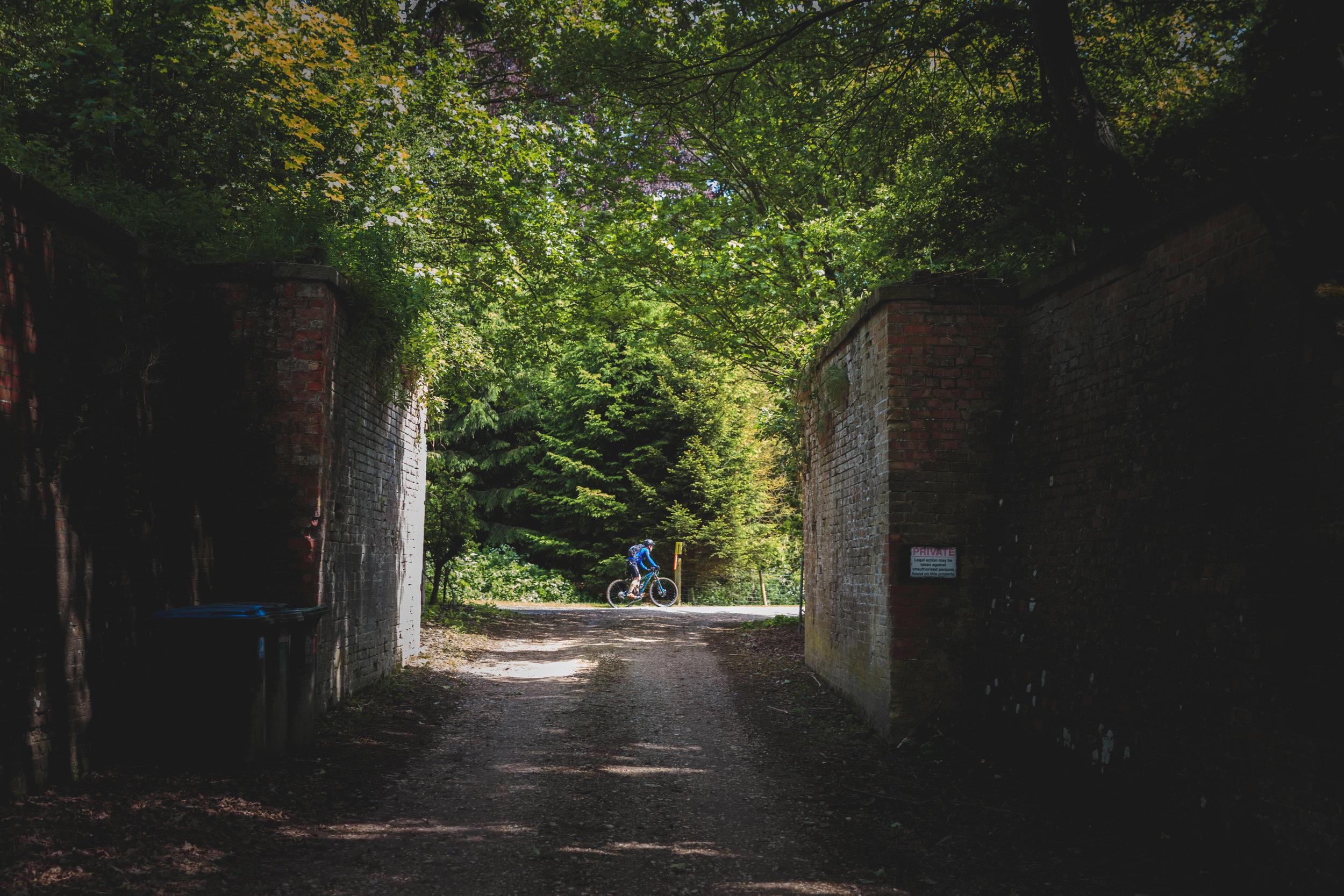 Mountain biker through the gates